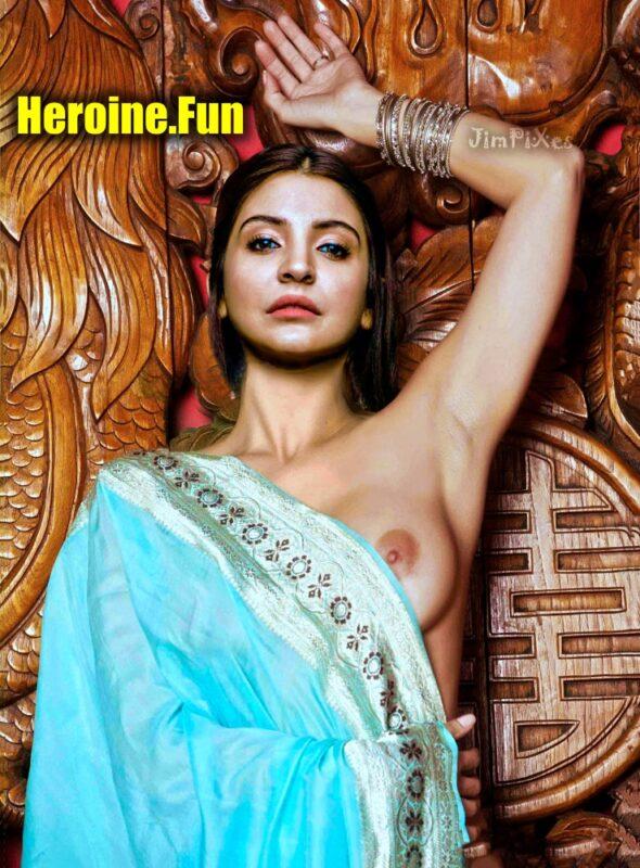Anushka Sharma sexy hot saree without blouse bra nude boobs nipple