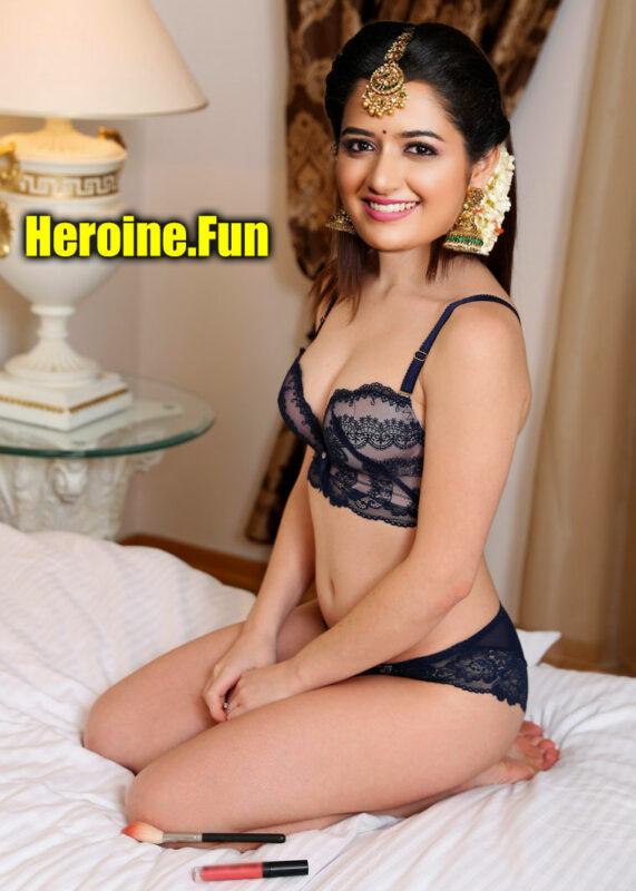 Ashika Ranganath sexy black bra without dress nude actress